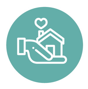 Healthy and Complete Communities Symbol, Aqua coloured circle with a hand holding a small house