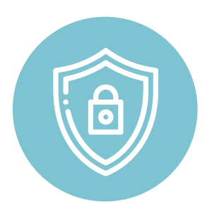 Protecting What We Value Symbol, Blue coloured circle with a shield and lock