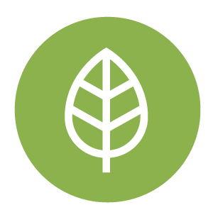 How We Green Symbol, Green circle with a leaf inside