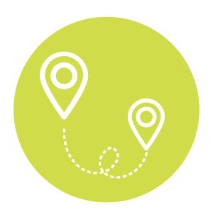 Transportation and Mobility Symbol, Light Green circle with points on a map inside