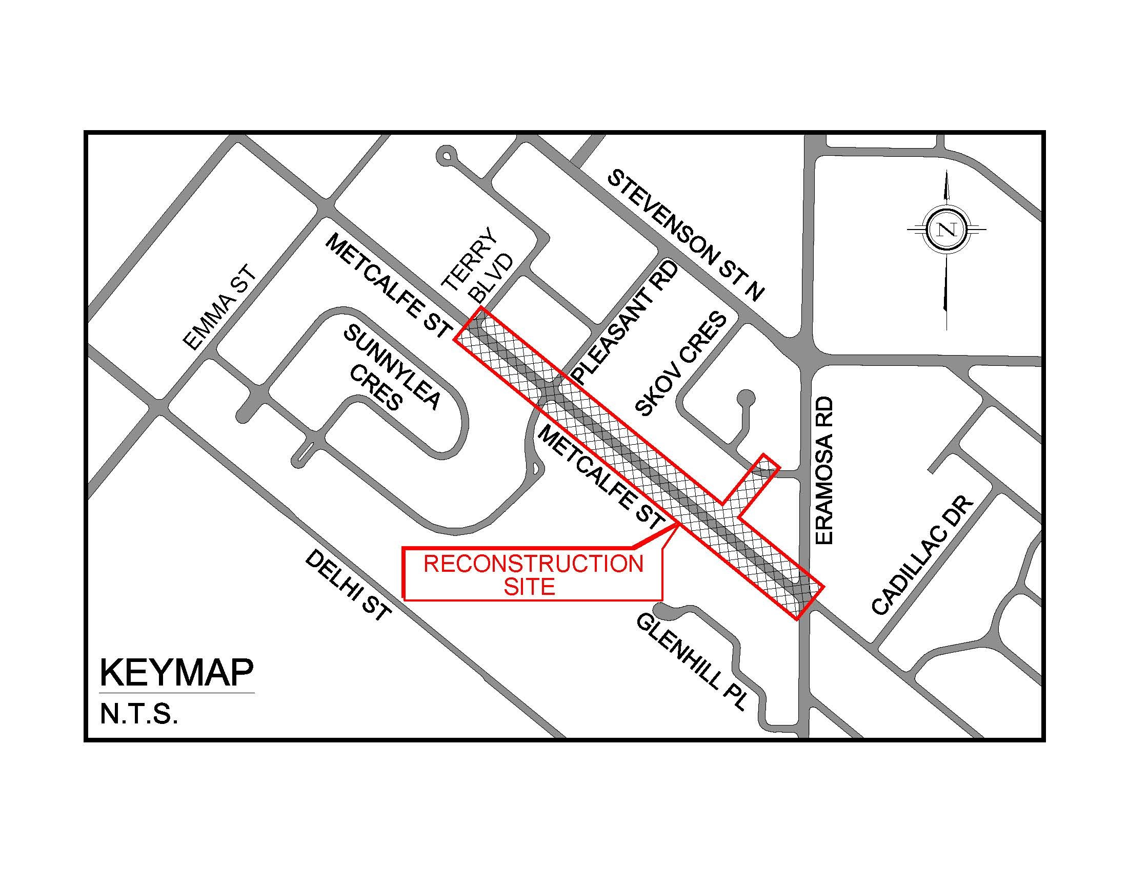 A map drawing showing the construction area outlined in red which includes Metcalf street from Eramosa to Terry Blvd and a small section of Skov Cres.