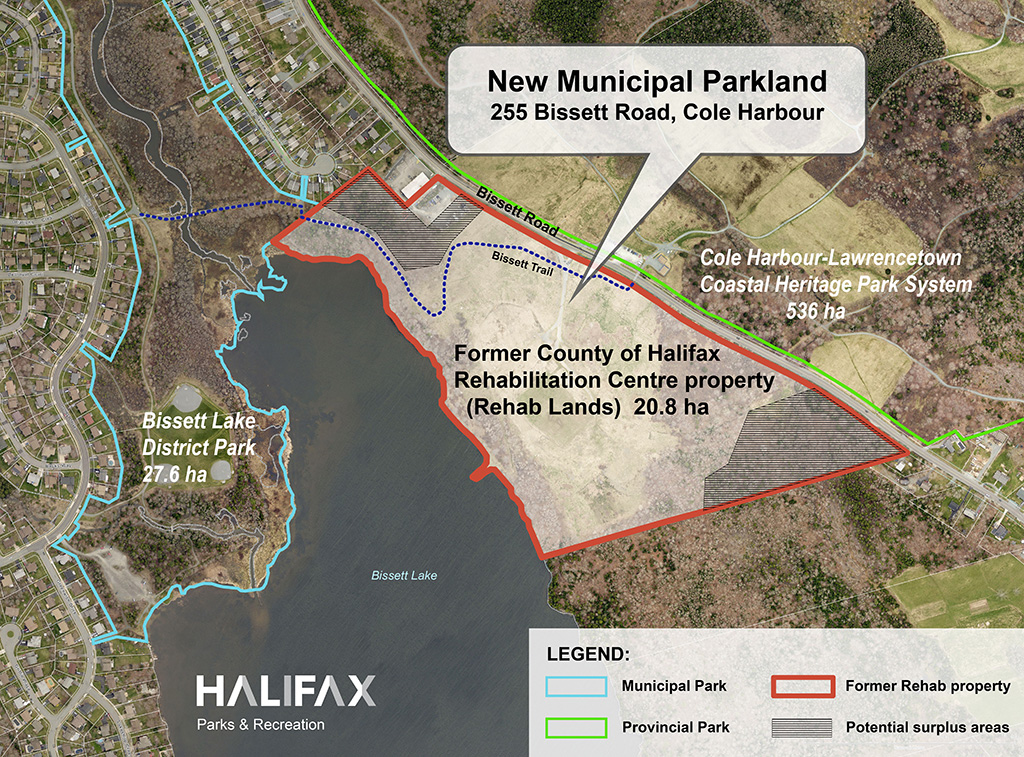 Map showing the location of the former Rehab property at 255 Bissett Road in Cole Harbour.