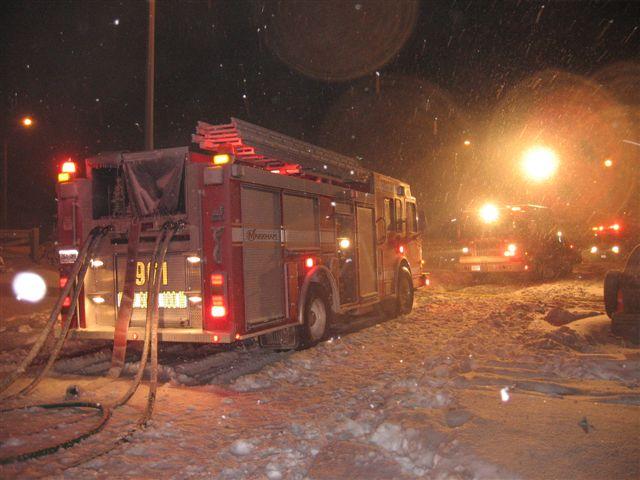 Firetruck on scene in the winter