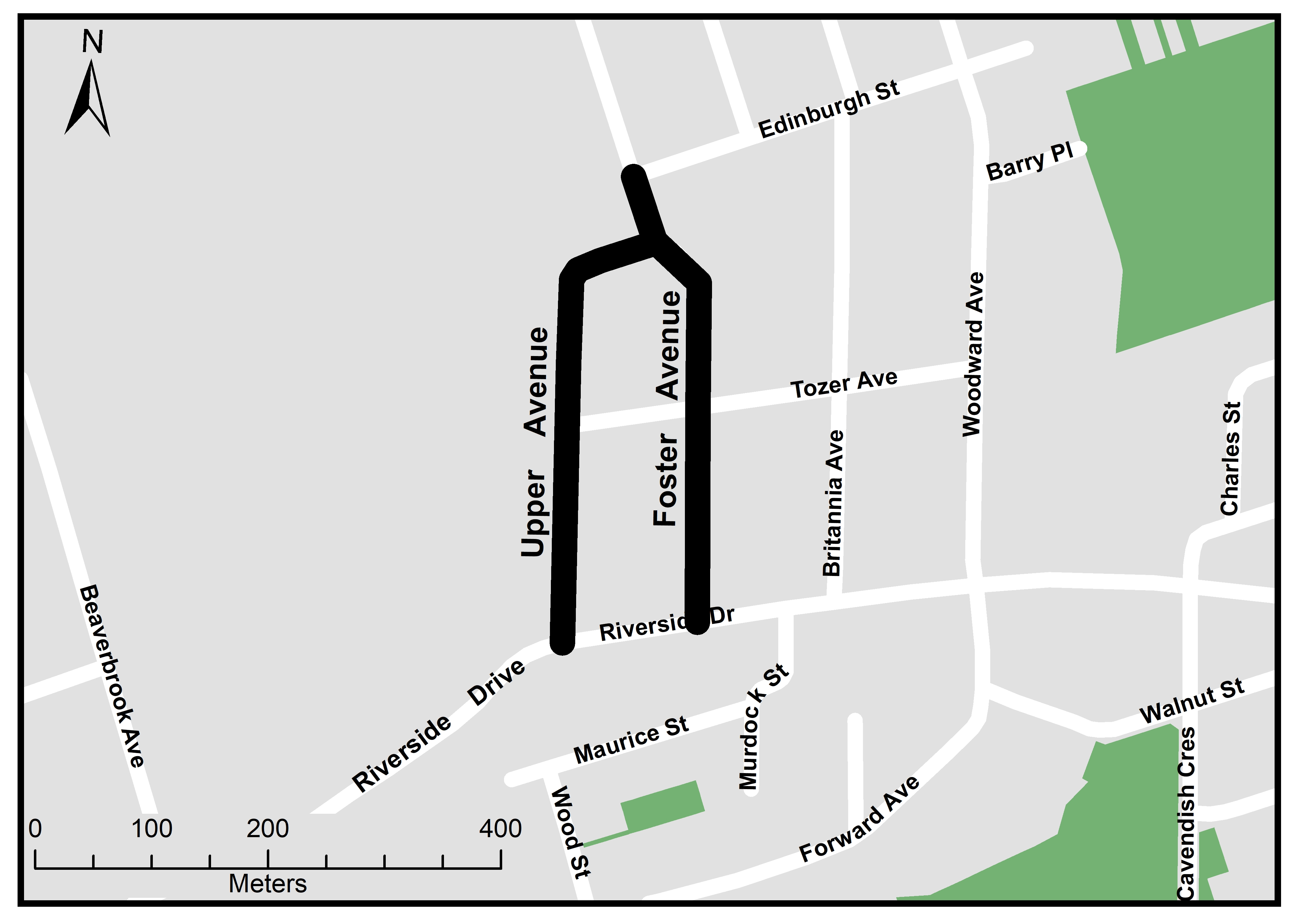 The City of London will reconstruct Foster Avenue, from Edinburgh Street to Riverside Drive; and Upper Avenue, from Foster Avenue to Riverside Drive. For more information, please contact Jeff Conrad at jconrad@london.ca or by calling 519-661-2489 x 0016