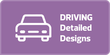 "Light purple rectangular button with white text and an outline drawing of a car on it that says ""Driving Detailed Design."" If the button is clicked a webpage with a flipbook of the driving and traffic designs for Garneau is opened in a new browser tab."
