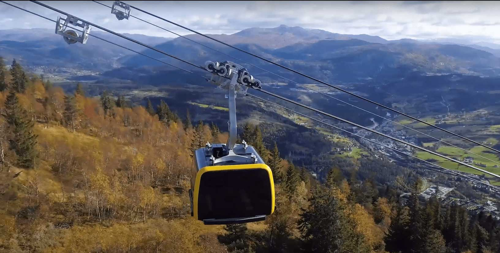 Gondola in Voss Norway going up a mountain