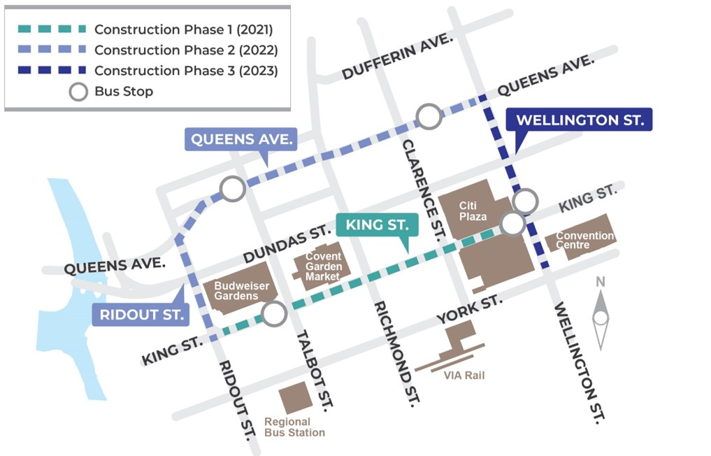 Map of Construction Phasing for the Downtown Loop
