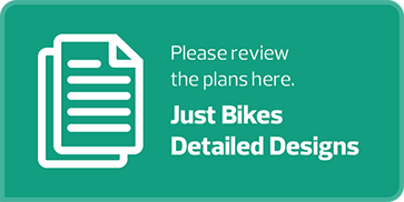 "light green button white text and an image of two documents one in front of the other that says ""Please review the plans here. Just Bikes Detailed Designs"" and if the button is clicked a webpage with a flipbook of the bike designs for Garneau is opened in a new browser tab."