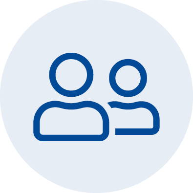 An illustrated icon showing two people from the shoulders up