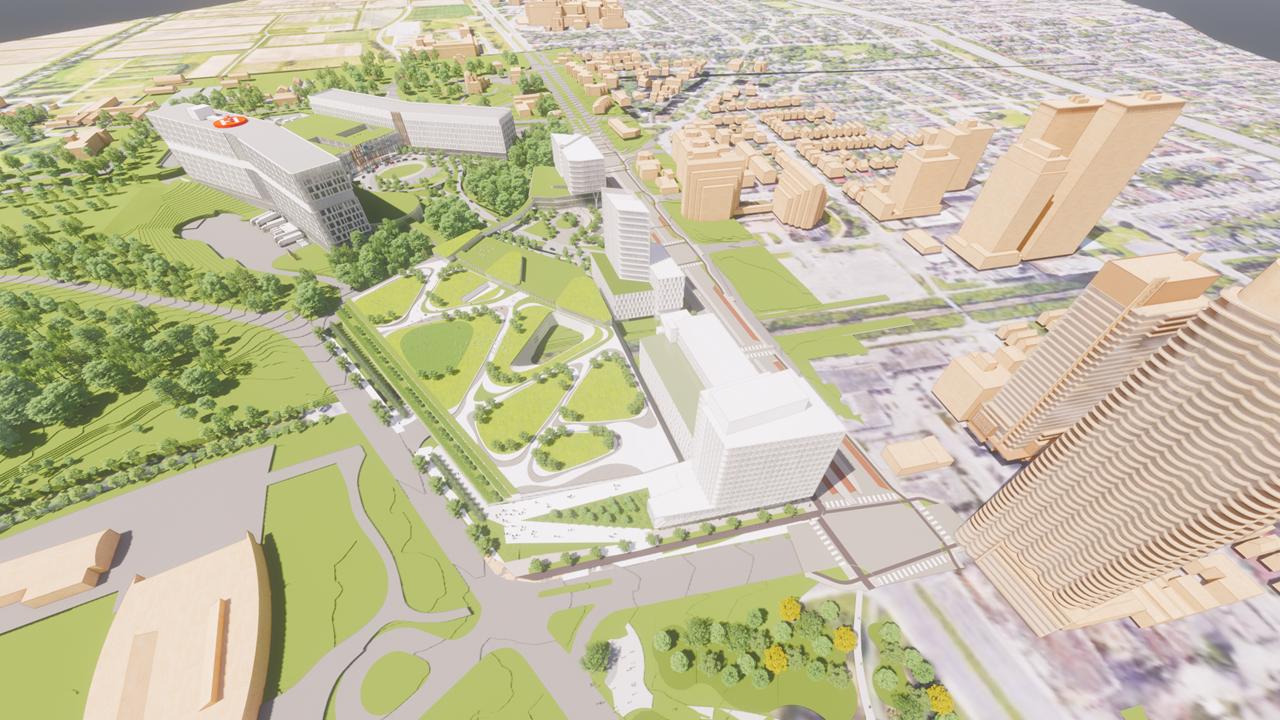 Photo conceptuelle du côté sud-est de l'hôpital