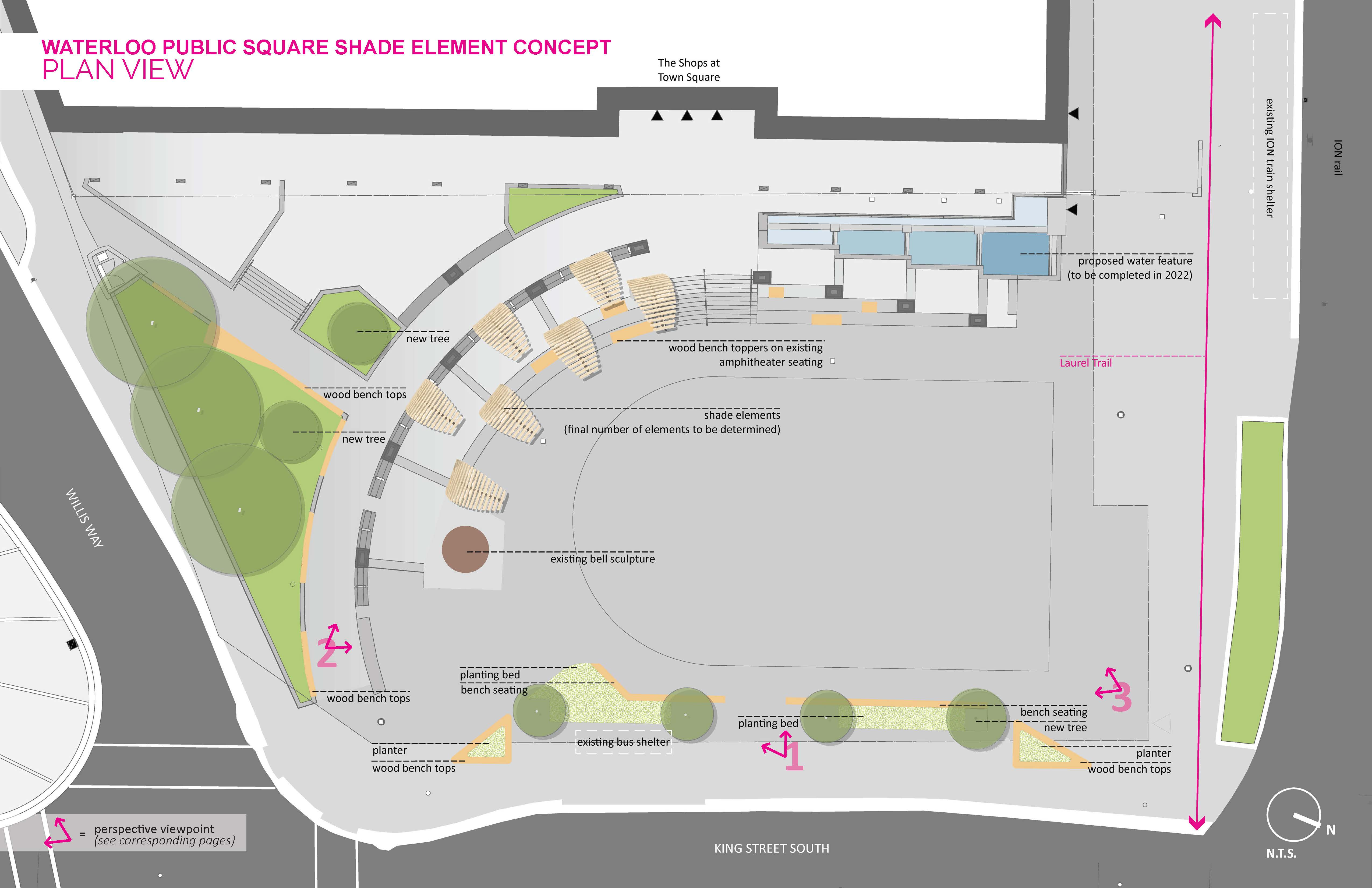A site plan view of the Waterloo Public Square shade element concept