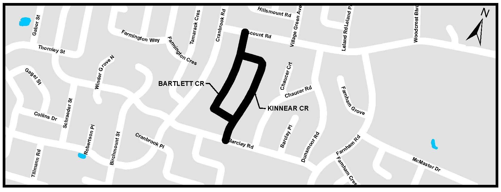 A map of Bartlett Crescent and Kinnear Crescent. For more information, assistance, or to ask questions, please contact Kyle Fairhurst at kfairhur@london.ca