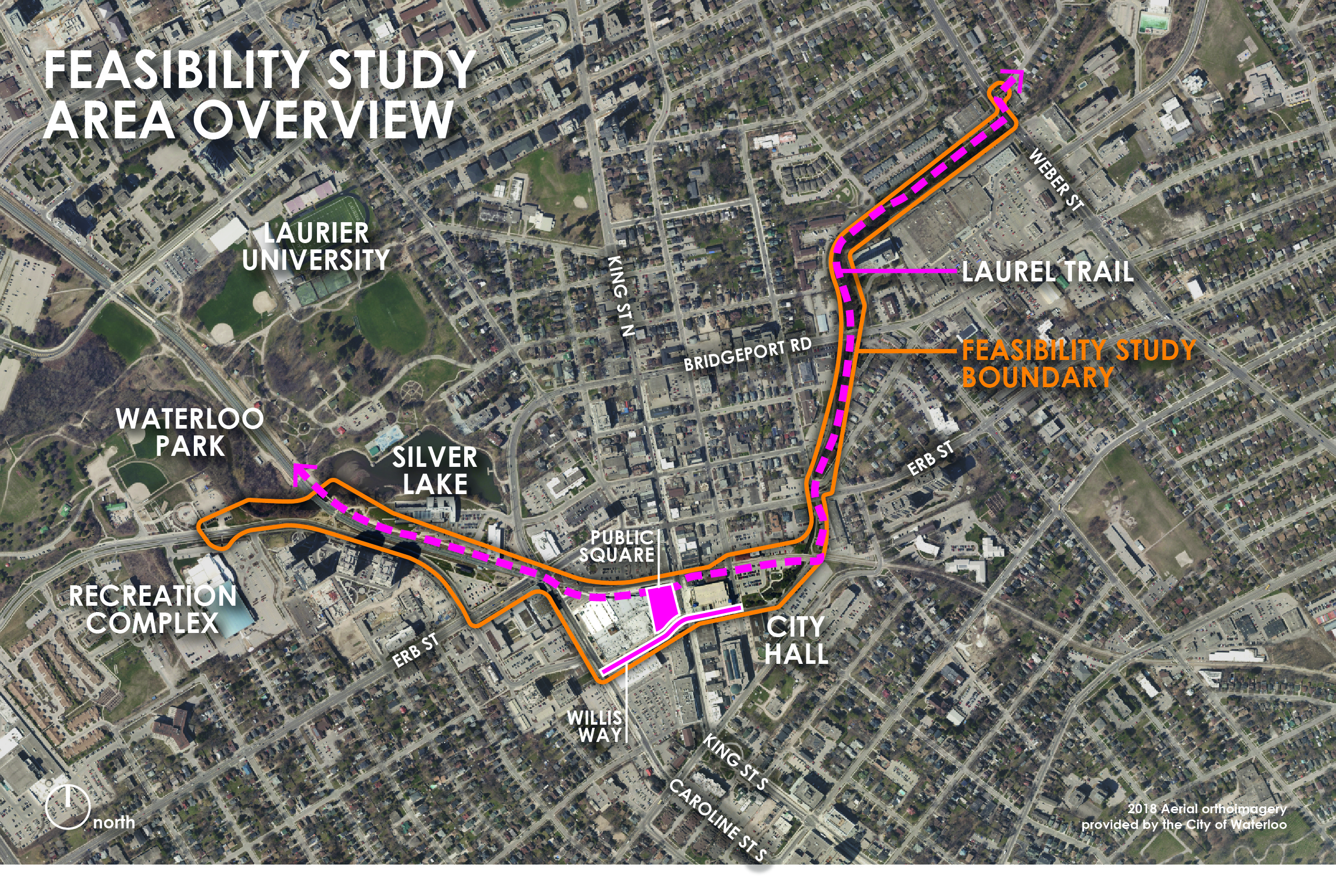 Map of the Laurel Greenway study boundary
