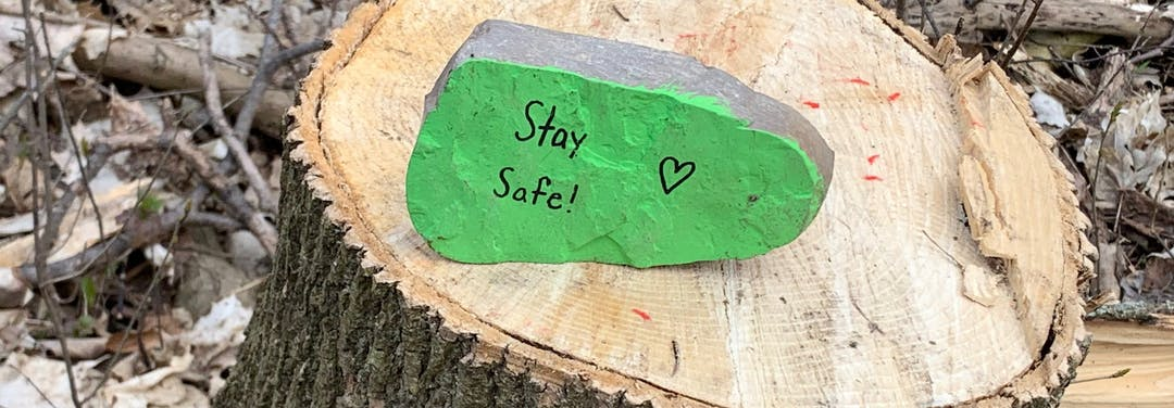 This is an image of a rock on a tree stump. The rock was painted green with the words stay safe and a heart.