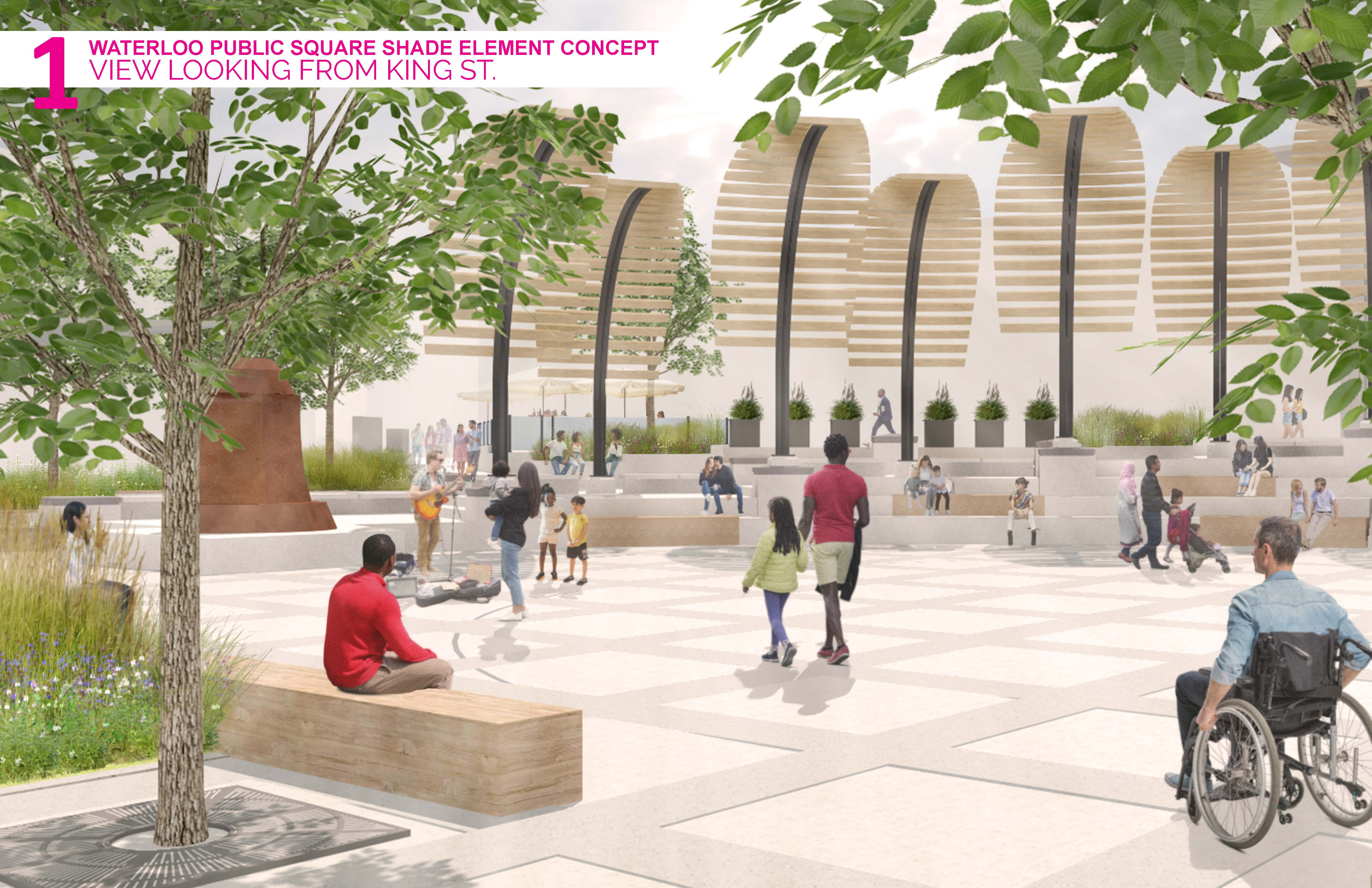 1. Waterloo Public Square shade element concept view looking from King Street, a rendering of the new shade structures in Waterloo Public Square