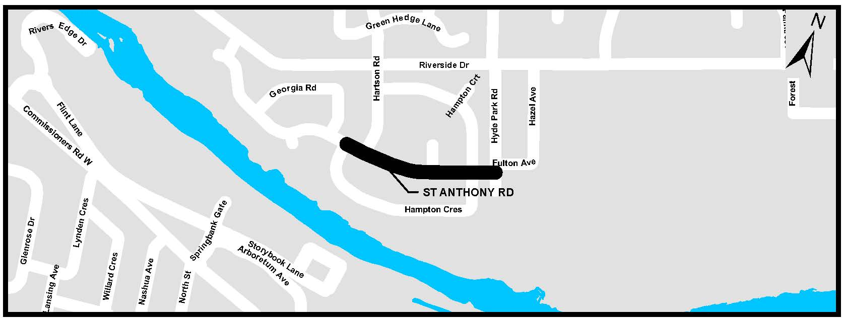 A map of St. Anthony Road. For more information, assistance, or to ask questions, please contact Kyle Fairhurst at kfairhur@london.ca