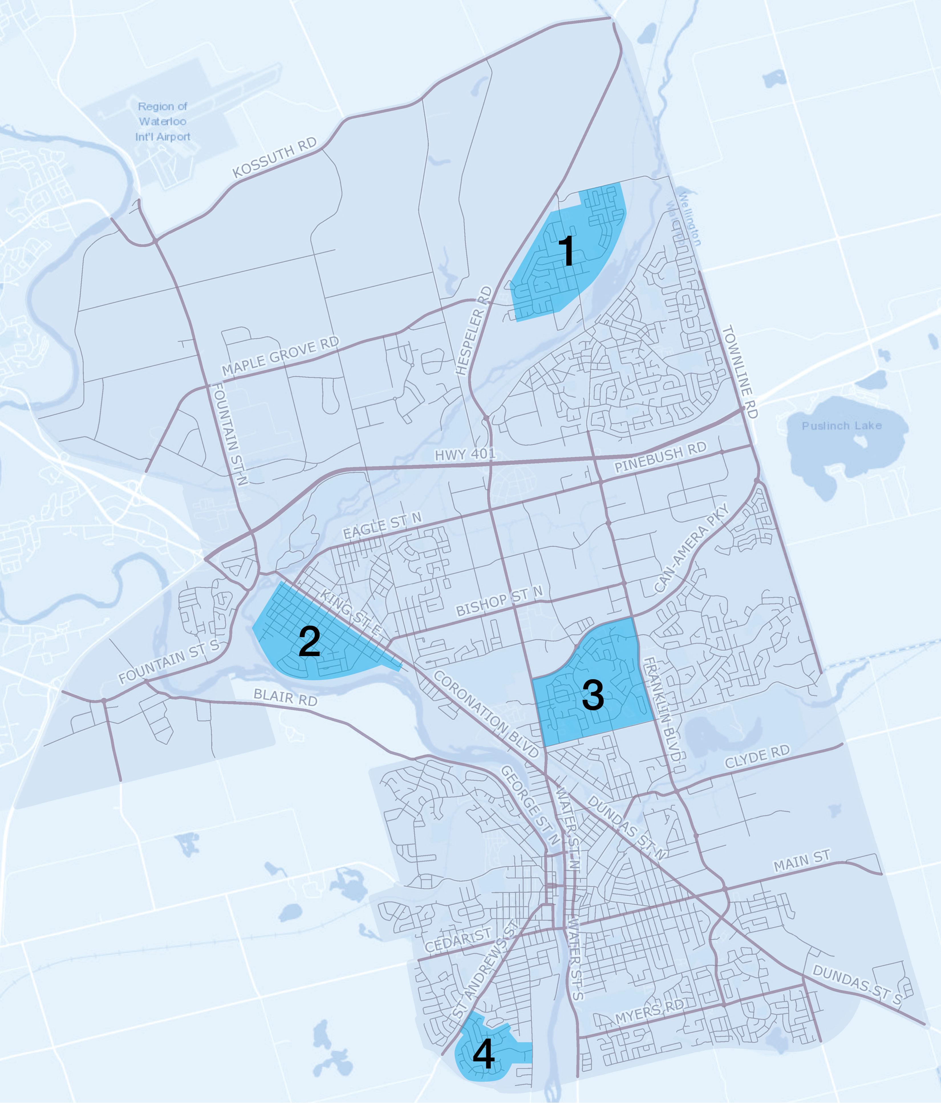 map of cambridge highlighting pilot areas