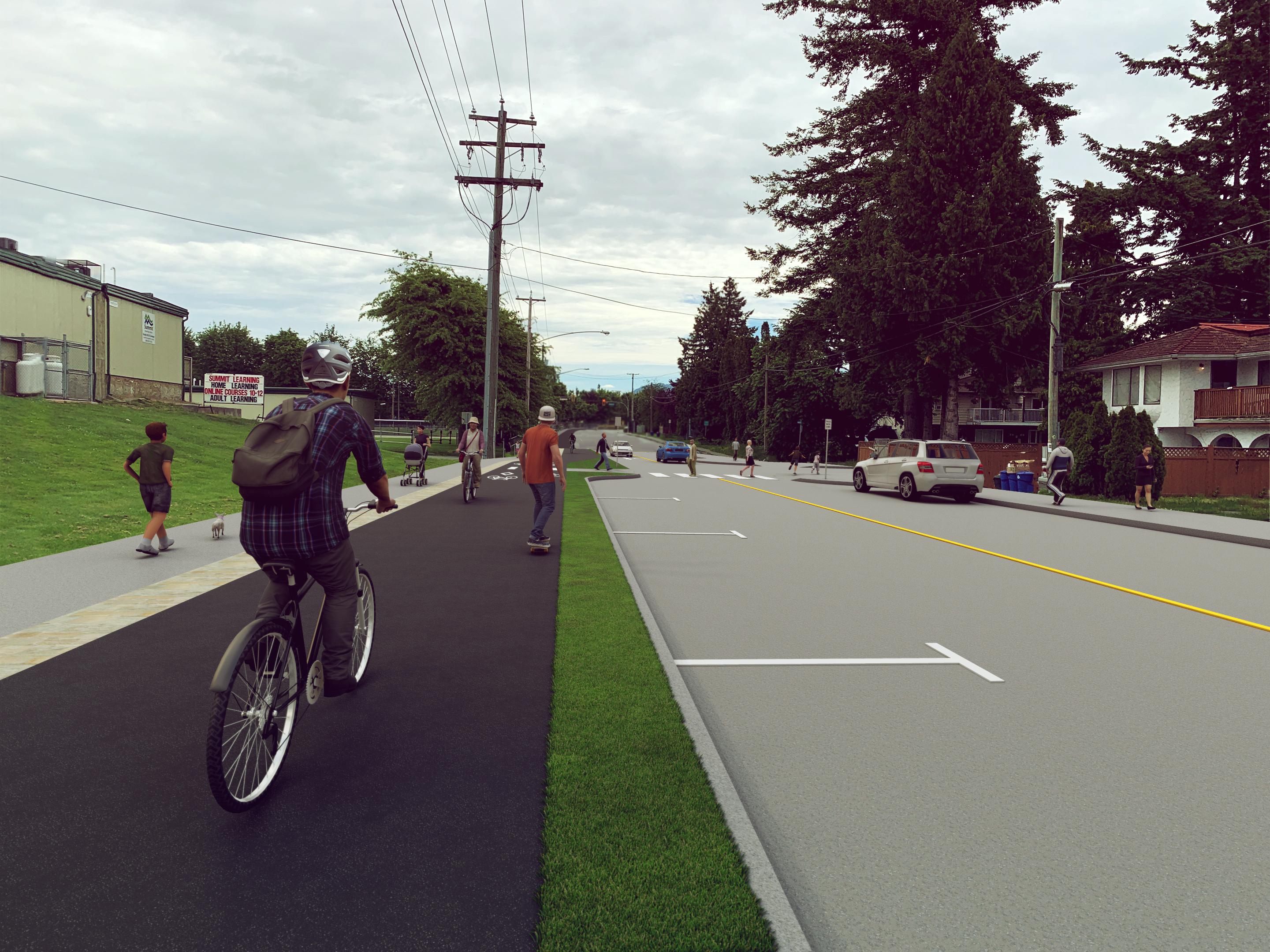 Image of Option 2: Two-Way Protected Bicycle Lane
