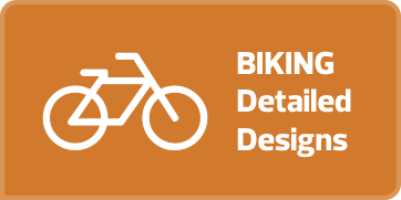 "Light orange rectangular button with white text and an outline drawing of a bike on it that says ""Biking Detailed Design."" If the button is clicked a webpage with a flipbook of the biking designs for Garneau is opened in a new browser tab."