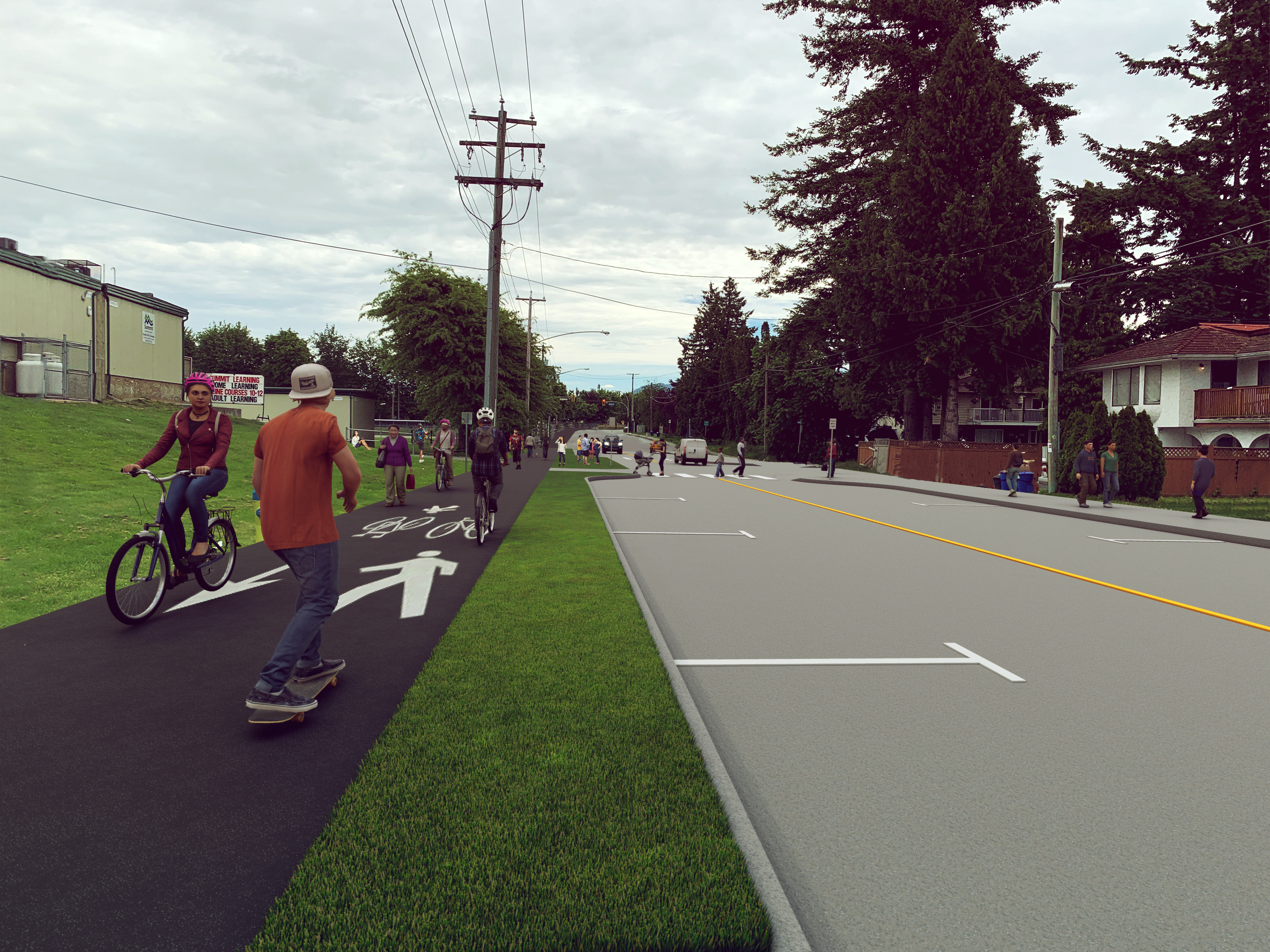 Image of option 3: Hybrid multi-use pathway and two-way protected bicycle lane
