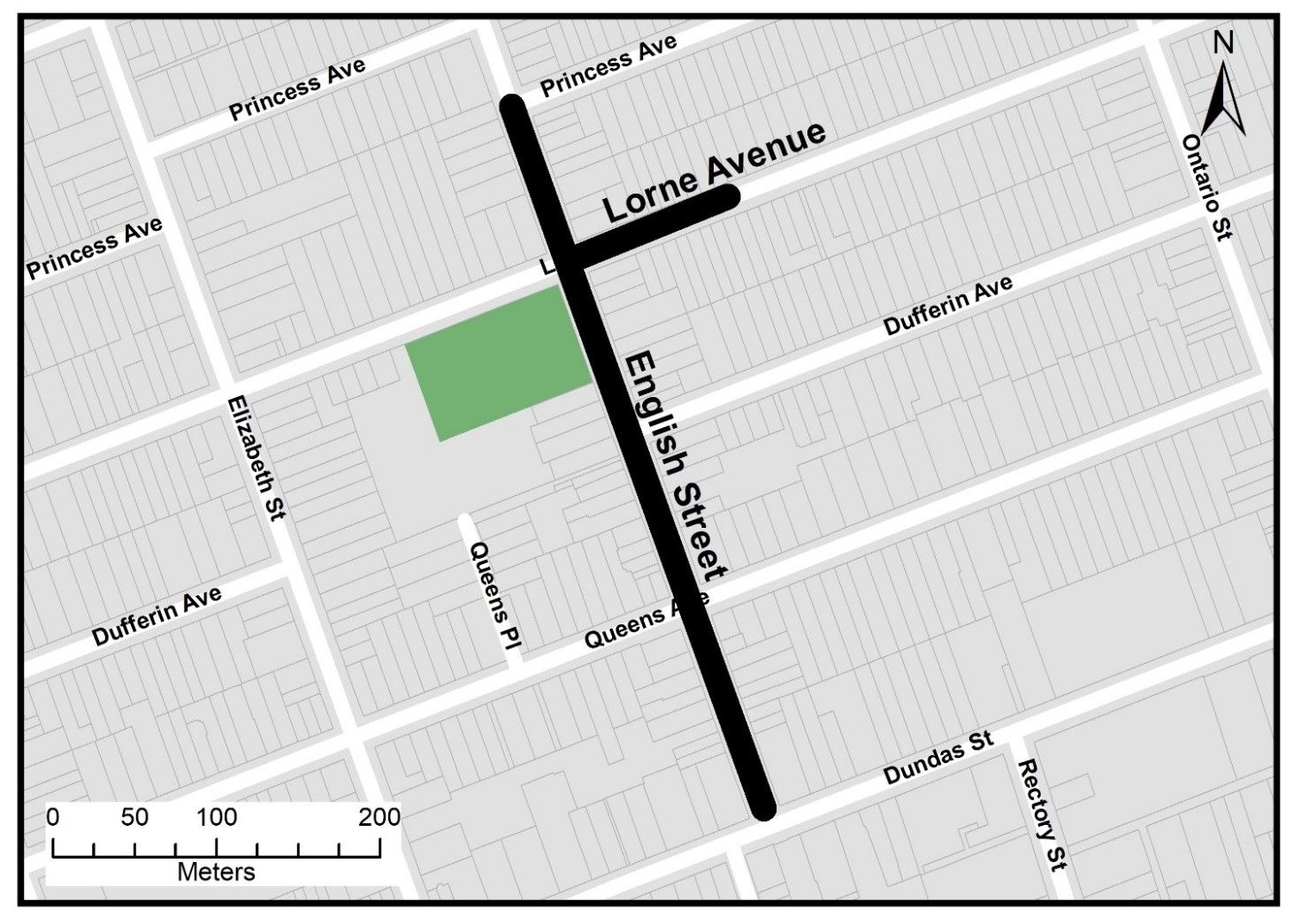The map below shows the project limits on English Street, from Dundas Street to Princess Avenue and Lorne Avenue, from English Street to approximately 100 metres east of the intersection. For more information, please contact Ryan Armstrong at rarmstro@london.ca or by phone at 519-661-2489 x 5207.