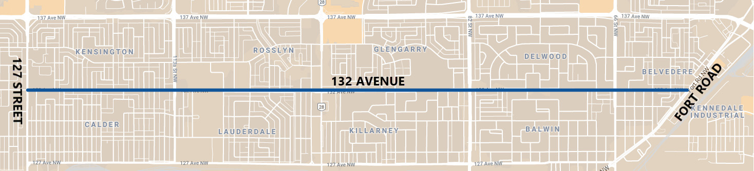 This image is a map of the 132 Avenue Renewal project boundaries. It extends along 132 Avenue from 127 Street from the west to Fort Road to the East. The project area extends across many neighbourhooods including: Kensington, Calder, Rosslyn, Lauderdale, Glengarry, Killarney, Delwood, Balwin and Belvedere.