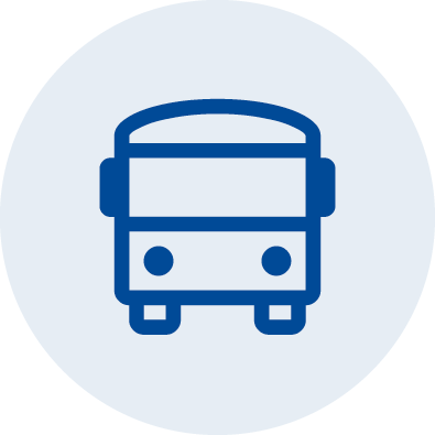 An illustrated icon showing a bus