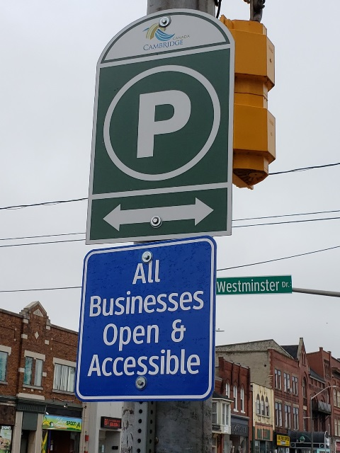 Business and parking signage