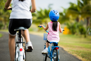 Mother cycling with daughter   shutterstock 387715204