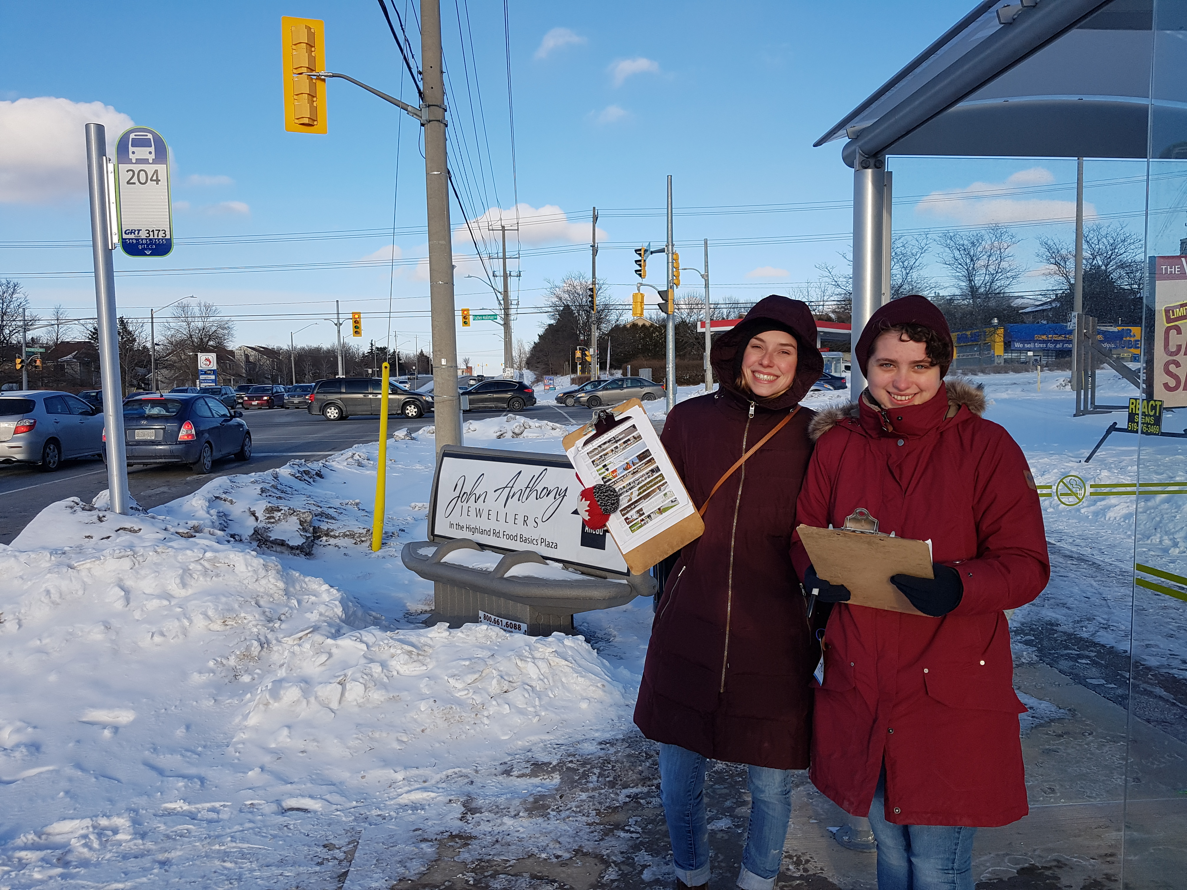 Complete streets in person survey at grt bus stop