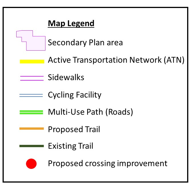 Legend of lines and shapes on map legend - key colours and shapes are explained in detail below