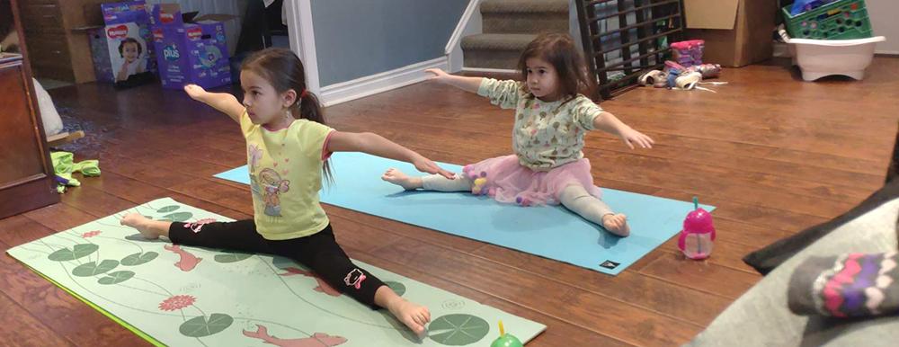 Spring Active Living Challenge - Two children doing yoga
