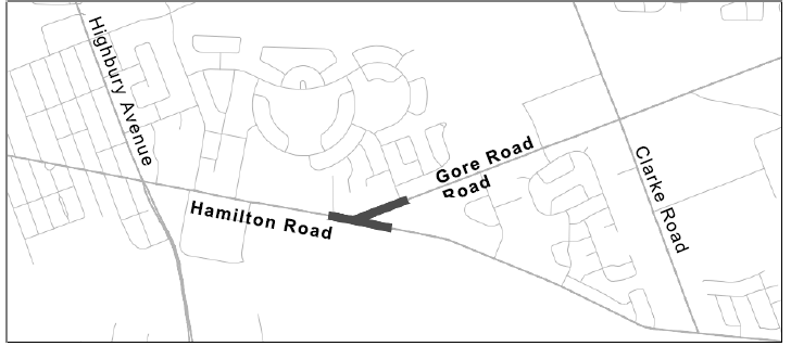 A map of the Hamilton Road and Gore Road Environmental Assessment. For more information, please contact Paul Yanchuk at pyanchuk@london.ca or by calling 519-661-2489 x 2563