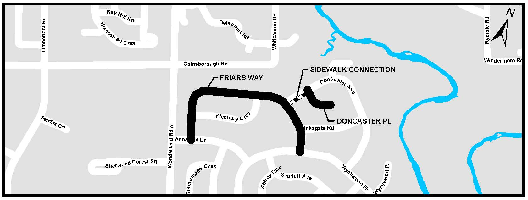 A map of Friars Way and Doncaster Place. For more information, assistance, or to ask questions, please contact Kyle Fairhurst at kfairhur@london.ca