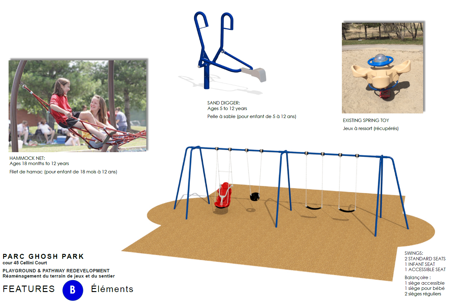 Conceptual image showing the playground redevelopment in Ghosh Park, indicating the following: a child on the Hammock Net; Sand Digger for the Sand Play area; existing Spring Toy; and the Swing Set area, including two standard seats, one infant seat, and one accessible seat.