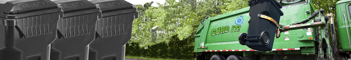 Banner mage of automated garbage truck picking up black garbage bin with 3 black garbage bins on the left