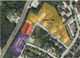 A bird's eye, map view of the lot in which the development will take place.