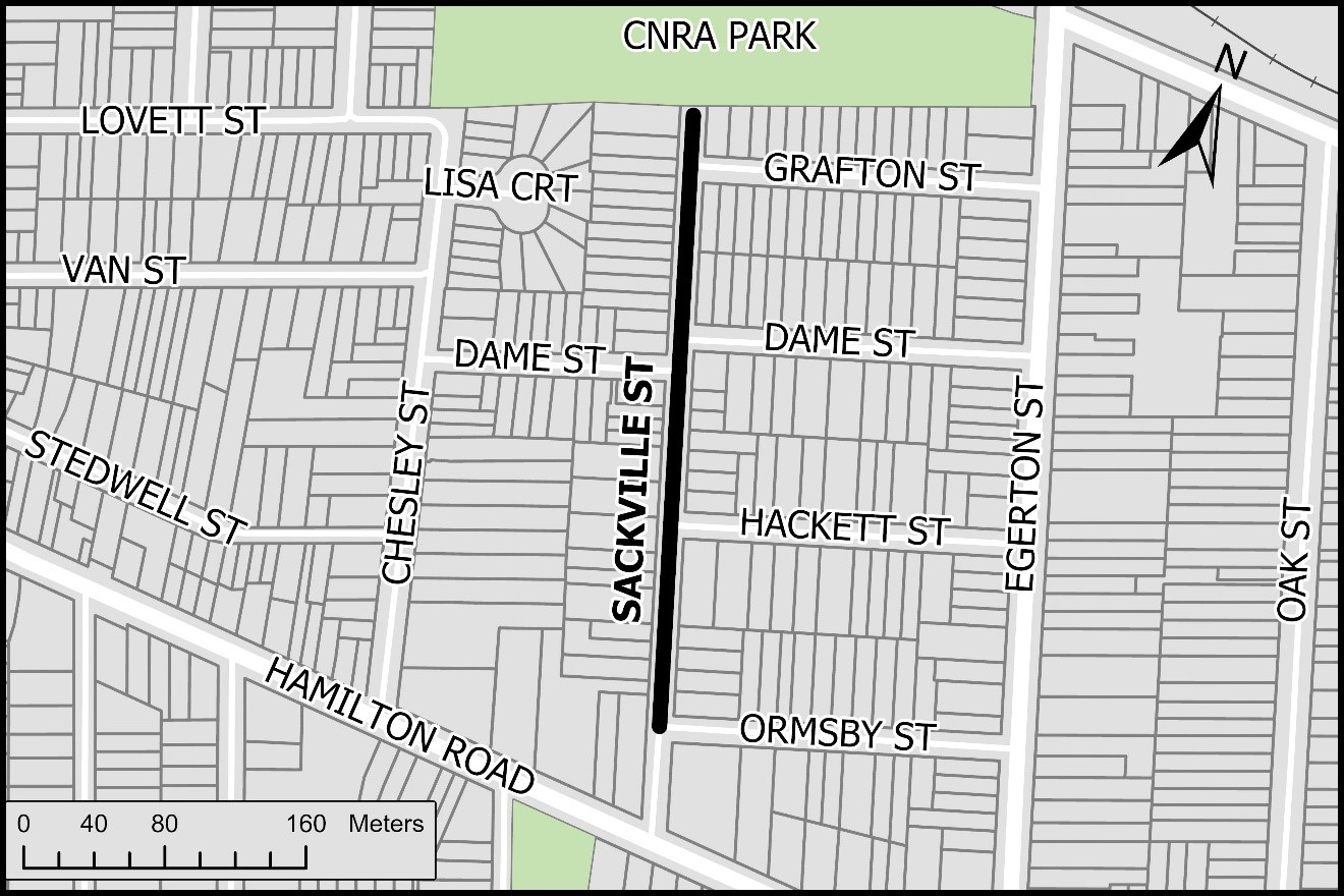 The map shows the project limits. Work is planned on Sackville Street, from Ormsby Street to CNRA Park. For more information, please contact Alex Corpodean at acorpodean@london.ca or by phone at 519-661-2489 x 8437.