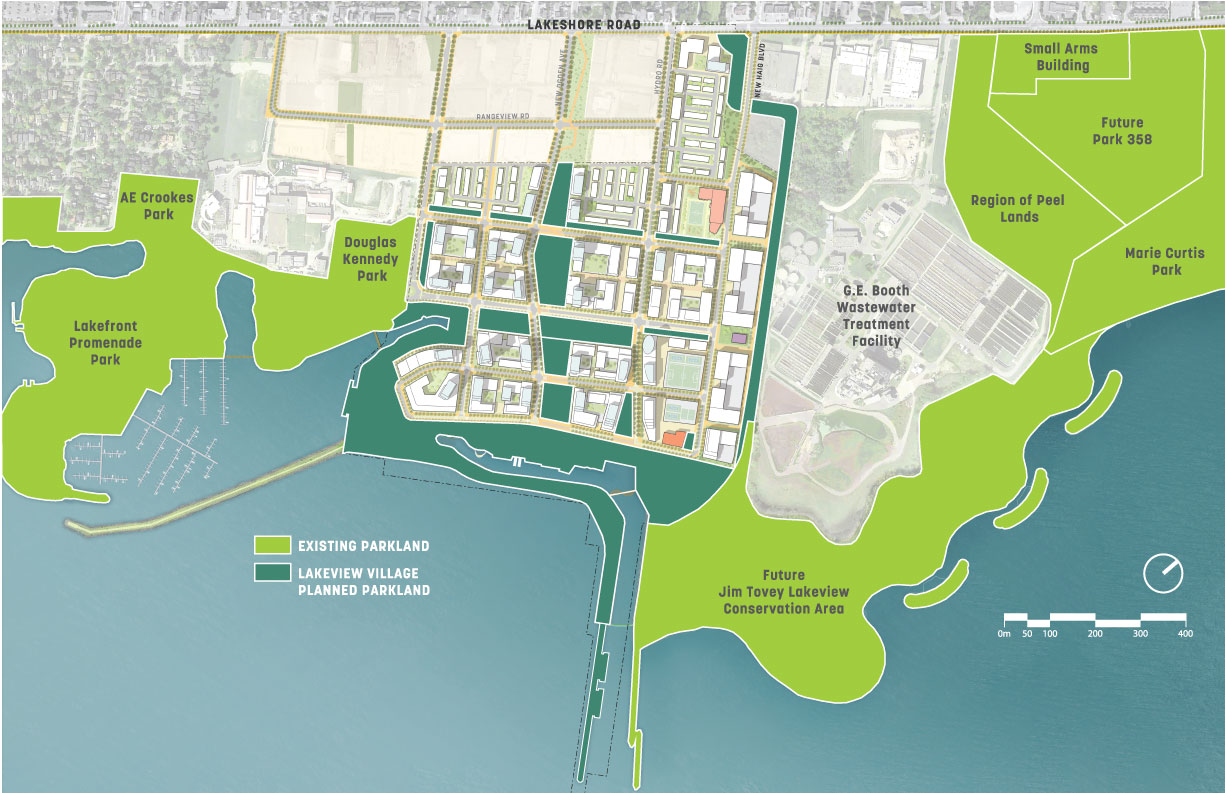 map of Lakeview Village Planned Parkland and existing nearby parks