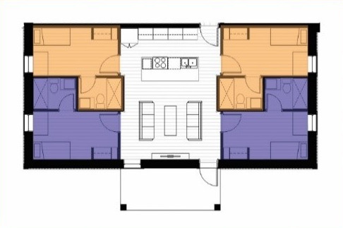 A floor plan of a lodging suite.
