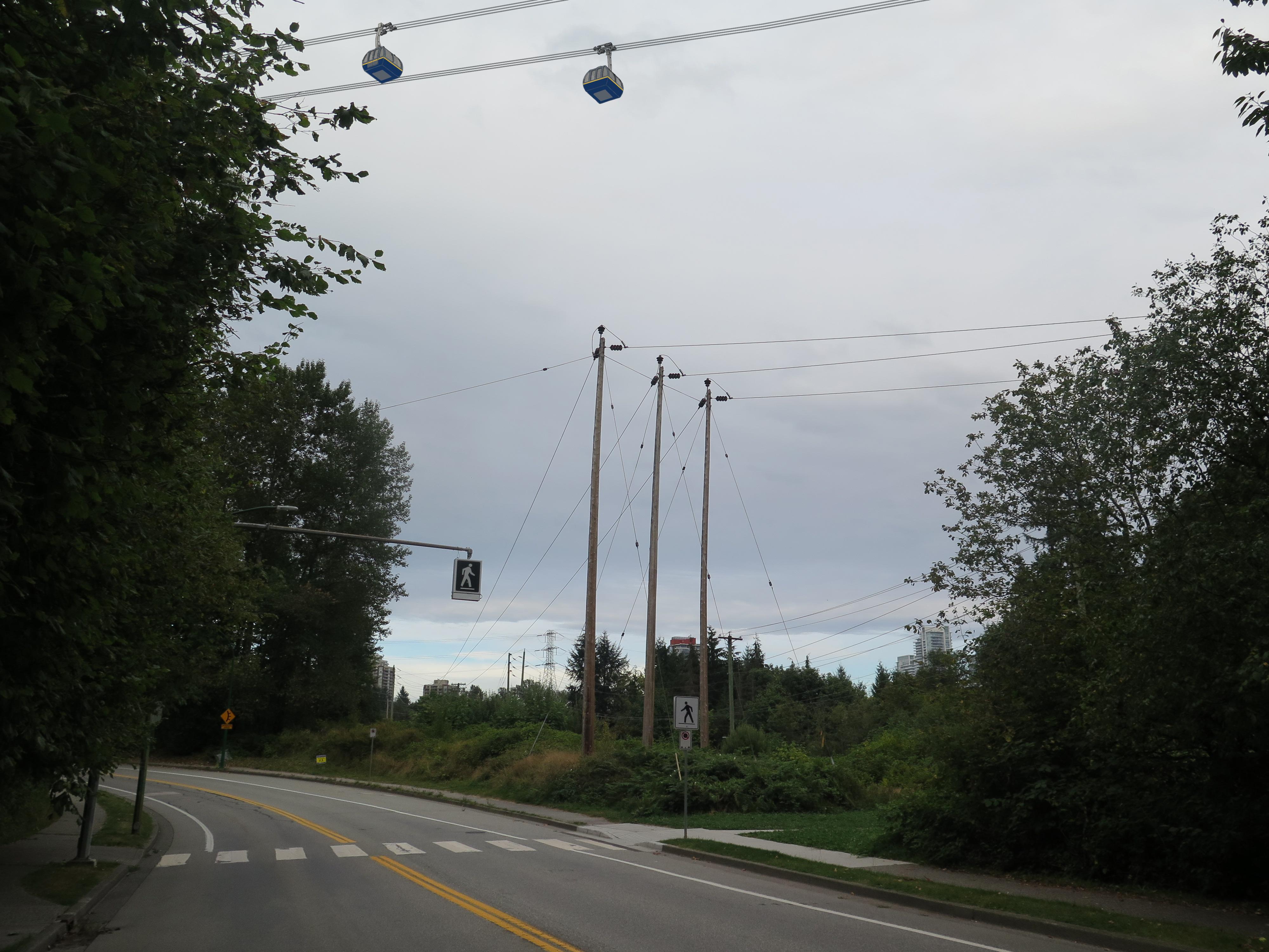 A conceptual rendering of gondola lines near Forest Grove Drive towards Gaglardi Way