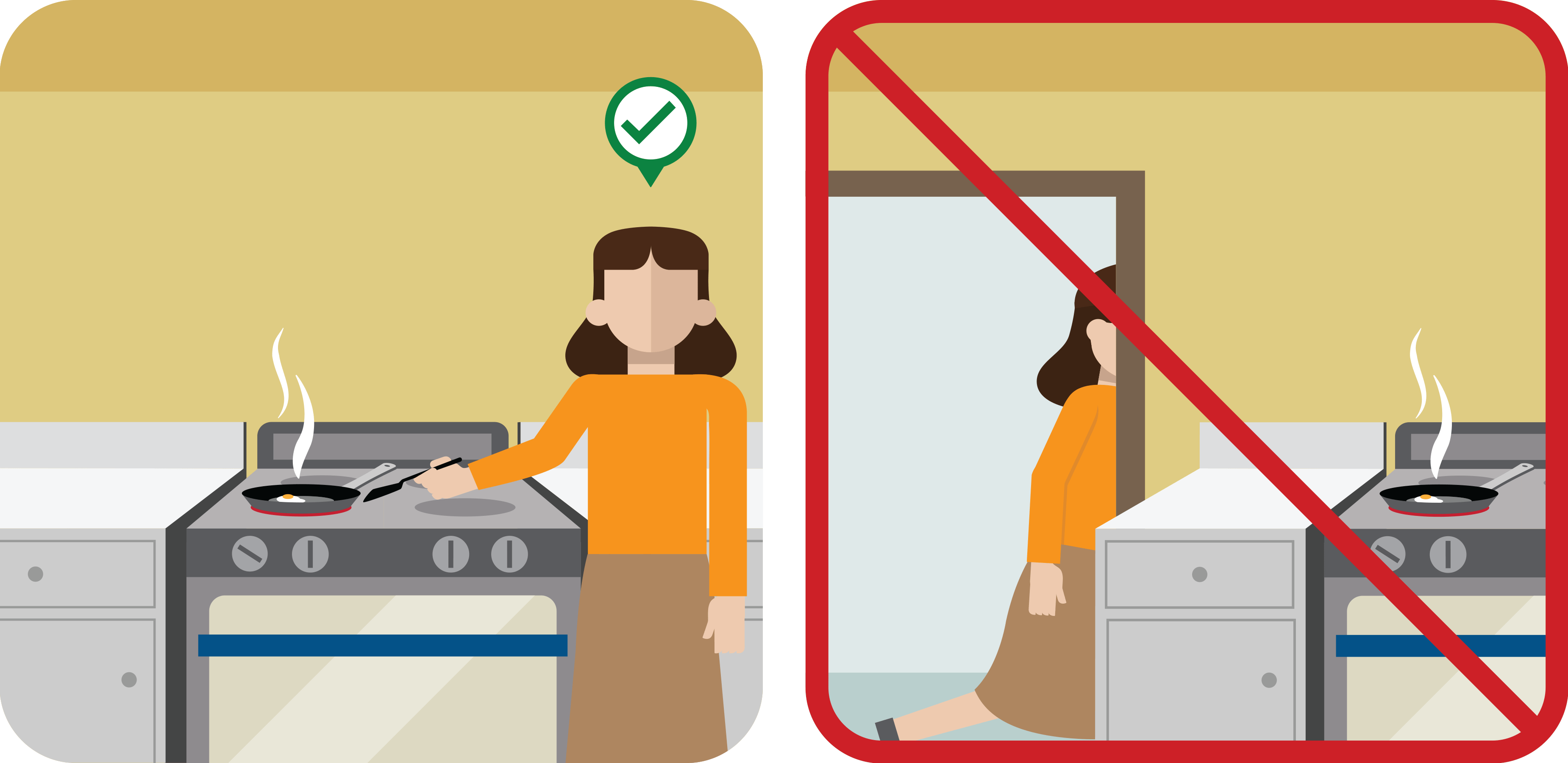 Don't leave stove unattended graphic