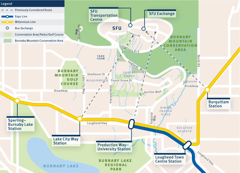 Map of the three previously considered gondola routes from SkyTrain stations to the top of Burnaby Mountain