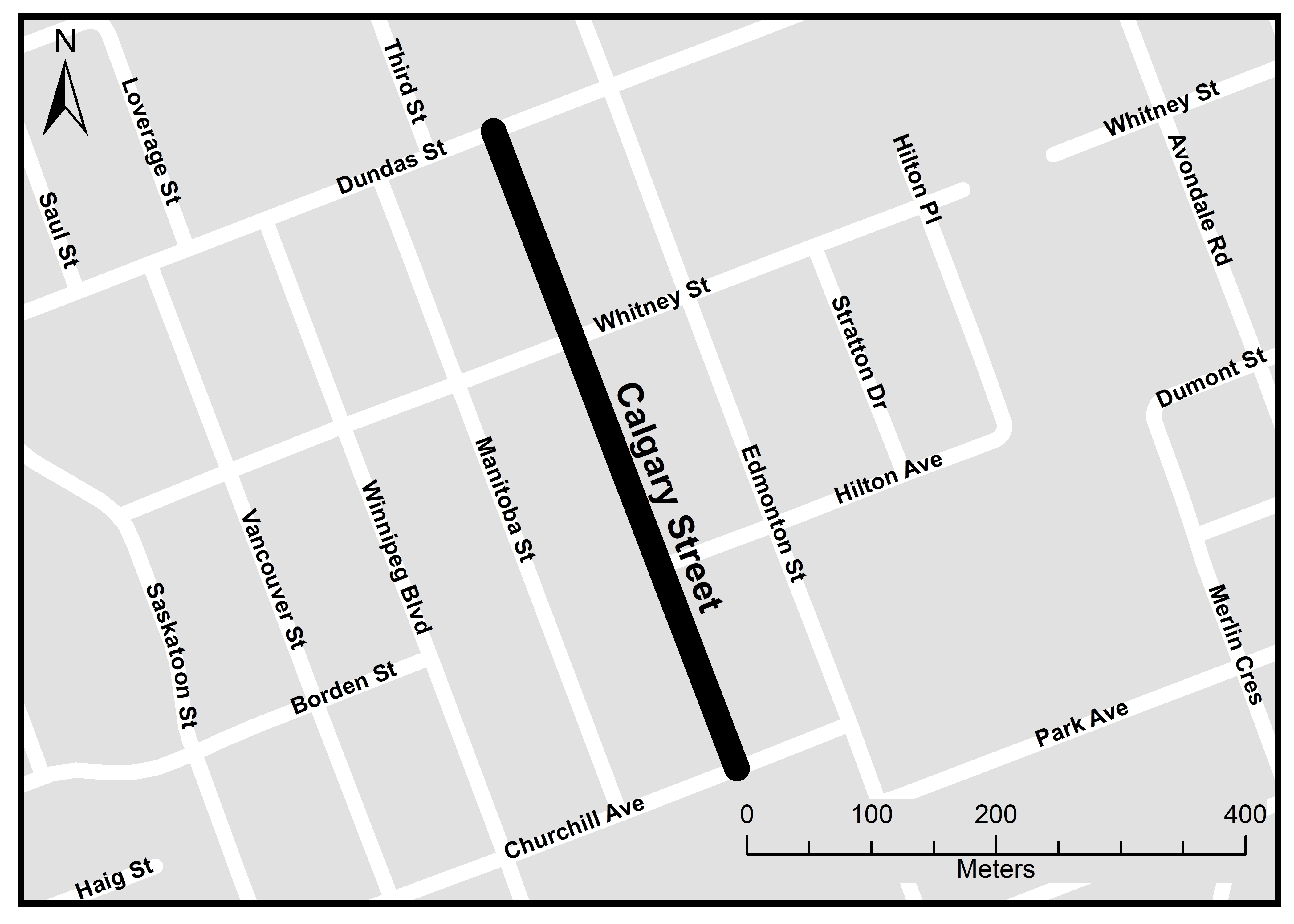 The above map shows the project limits. Crews will reconstruct Calgary Street from Dundas Street to Churchill Avenue. For more information, please contact Crystal McQuinn at cmcquinn@london.ca or by calling 519-661-2489 x 4472