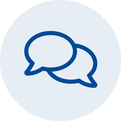 An illustrated icon showing two speech bubbles