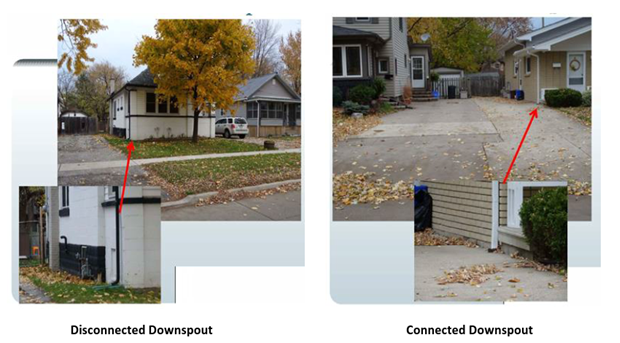 Two images displaying a home with a downspout disconnected, and another with a downspout connected.