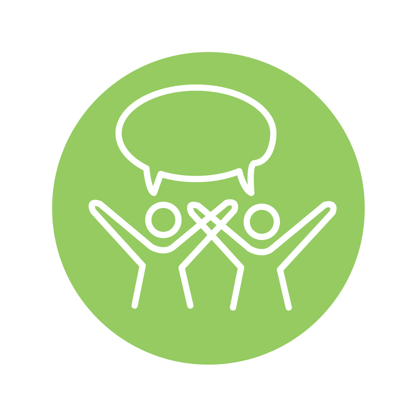 Civic engagement icon of people talking