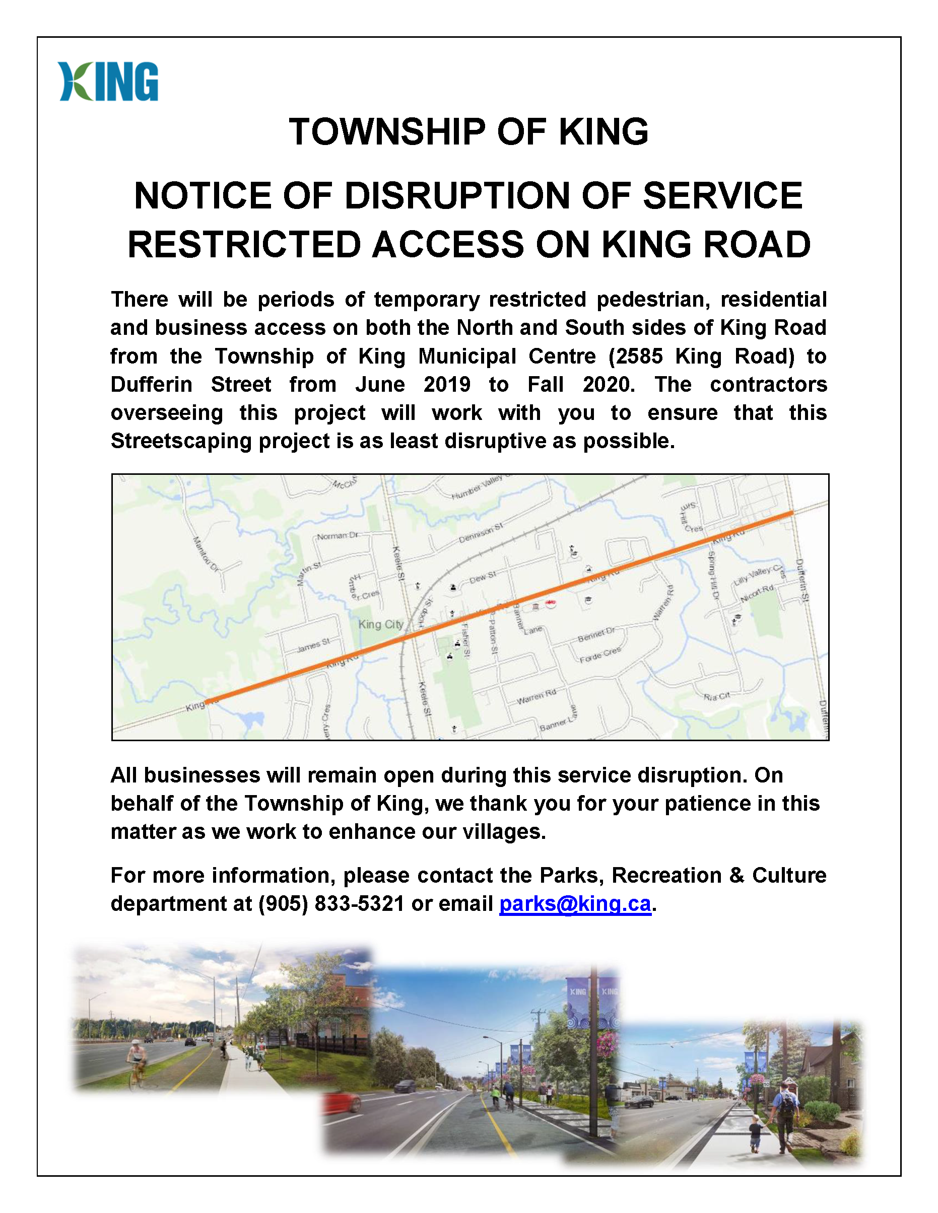 Notice to residents   streetscaping king road to dufferin