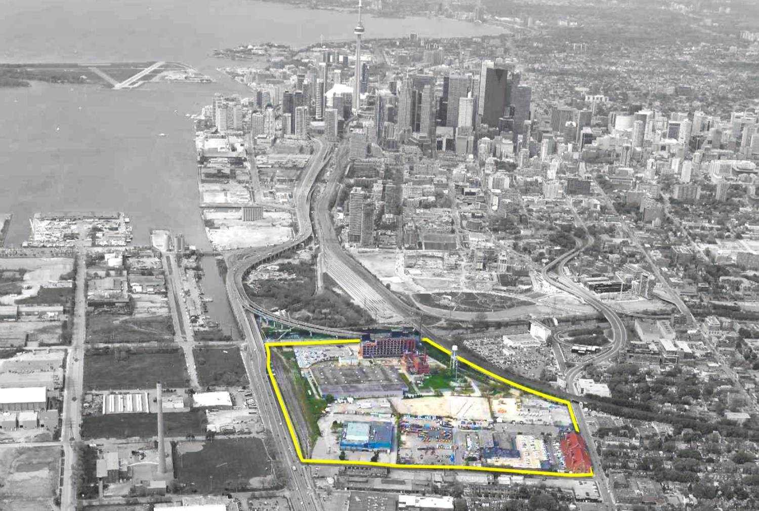 Outline of Unilever Precinct on aerial image, looking west toward downtown.