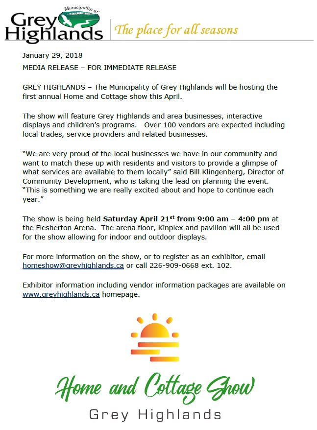 Media release   home show